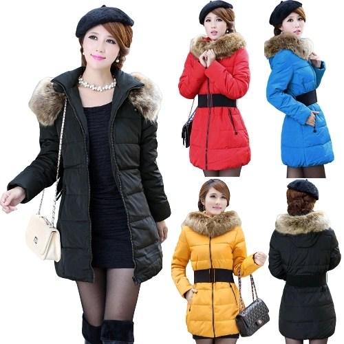 New Fashion Women Wadded Coat Hooded Faux Fur Cotton-Padded Jacket Parka Coat Outerwear