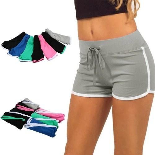 Fashion Women Sports Shorts Contrast Binding Elastic Waist Yoga Shorts