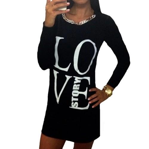 Fashion Women Long T-Shirt Letter Print Long Sleeve Round Neck Casual Mini Dress Tops Tee Grey/Black
