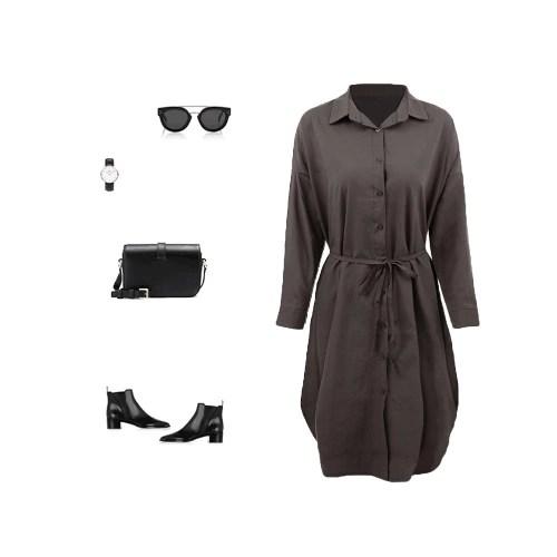 New Women Shirt Dress Turn Down Collar Long Sleeve Button Placket Side Slits Casual Midi Dress Grey/White