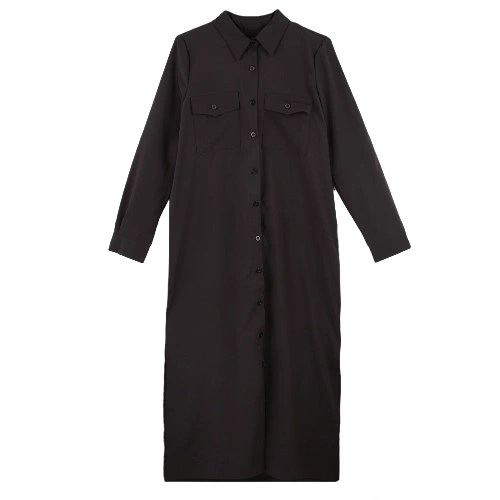 New Fashion Women Shirt Dress Turn Down Collar Long Sleeve Buttons Pockets Casual Loose One-piece