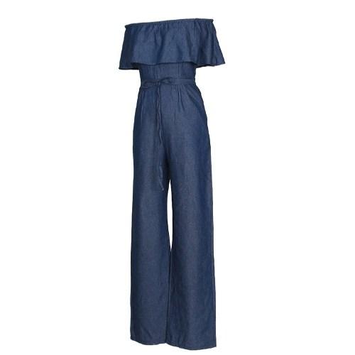 Sexy Women Off Shoulder Denim Jumpsuit Rompers Slash Neck Ruffle Wide Leg Strapless Overalls Blue