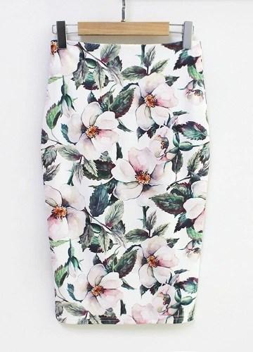 New Women Pencil Skirt Floral Print High Waist Split Vintage Slim Elegant OL Bodycon Midi Skirt