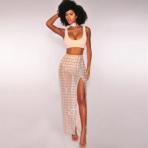 Sexy Women Two Piece Crop Tank Top Sheer Mesh Sequin Plaid Split Skirt High Waist Vest Skirt Set Party Nightclub Outfit Black/Beige