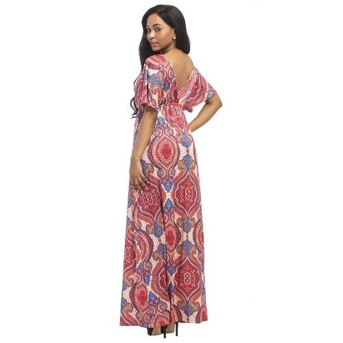 Vintage Women Plus Size Maxi Dress Geometric Print Plunge V-Neck Short Sleeves Bohemian Long Dresses