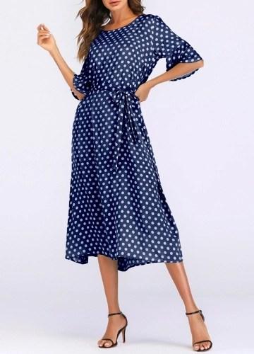 New Vintage Polka Dot Print Loose Dress O Neck Tie Waist Flare Half Sleeve Beach Bohemian Long Dress
