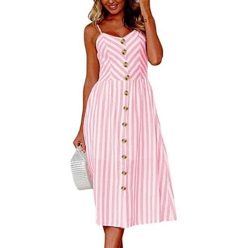 Women Skater Dress Spaghetti Straps Sleeveless High Waist Buttons Pockets A-Line Cami Midi Dress