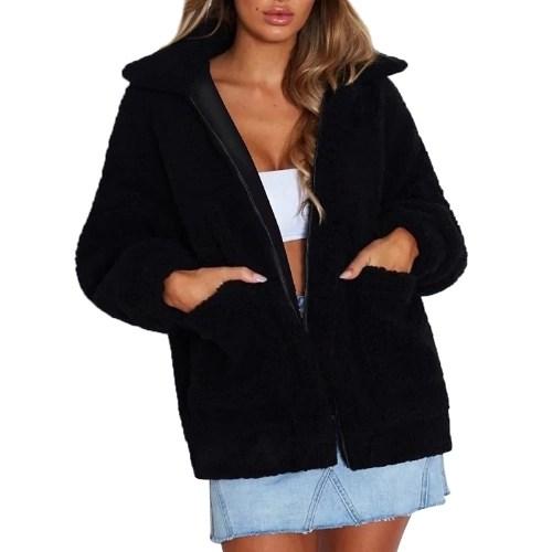 Winter Women Faux Fur Coat Solid Color