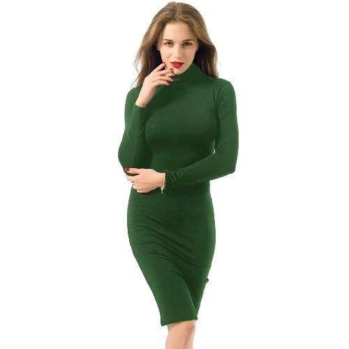 Sexy Turtleneck Long Sleeve Solid Warm Bodycon Midi Dress for Women