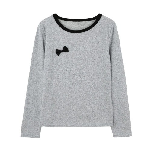 Cute Bowknot O Neck Long Sleeve Womens Pullover Casual T-Shirt