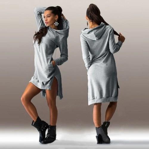 Trendy Sweatshirt Hoodie Long Sleeve Pockets Shift Dress for Women