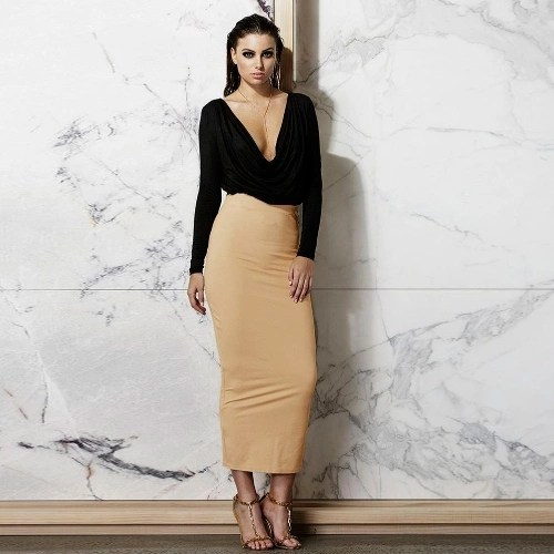 Sexy Deep V Neck Ruffle Long Sleeve Crop Top High Waist Skirt Set Womens Dress
