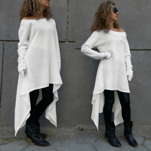 Fashion off Shoulder Long Sleeve Asymmetric Casual Loose T-shirt Dress for Women