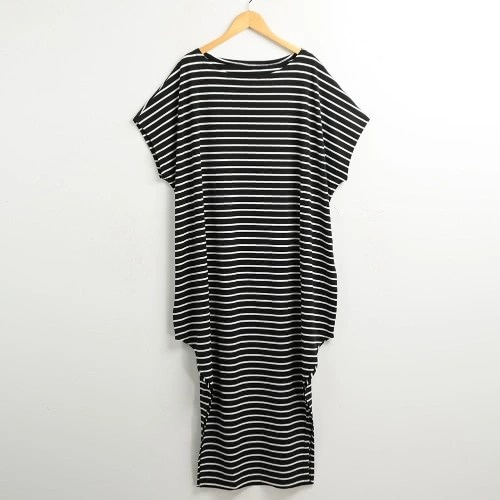 New Women Loose Long Dress Striped Batwing Sleeve Off-shoulder Split Asymmetric Casual Maxi Plus Size Dress White/Black