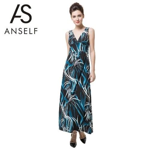Anself Summer Print Deep V Neck Backless Womens Bohemian Beach Slip Maxi Dress