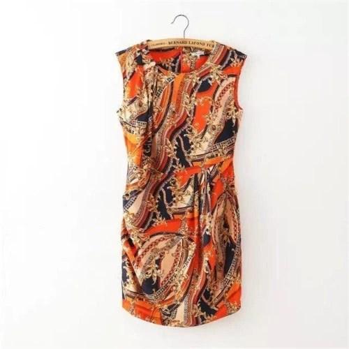 Fashion Floral Print Round Neck Sleeveless Womens Mini Dress