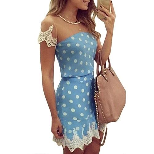 New Sexy Women Mini Dress Mesh Splice Crochet Lace Dot Print Short Sleeve Necklace Slim Elegant Party Clubwear Blue