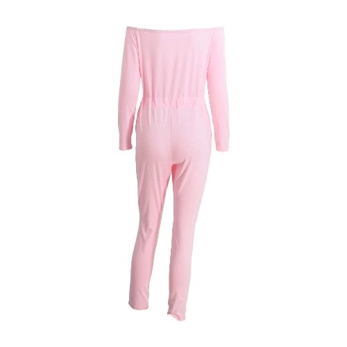 New Fashion Women One-Piece Jumpsuit Off The Shoulder Slash Neck Casual Bodysuit Elastic Waist Cutout Long Sleeve Club Playsuit Rompers