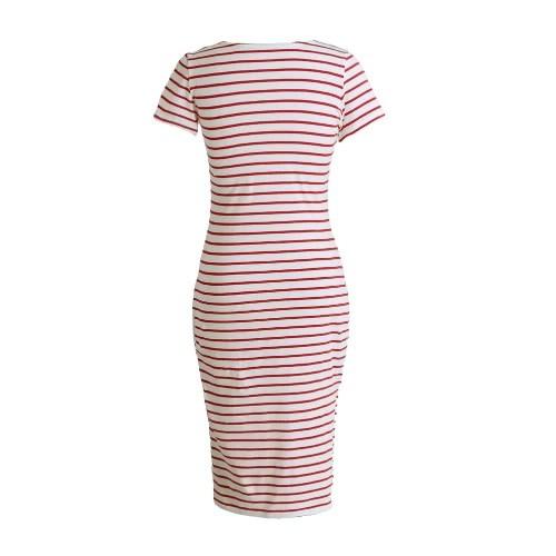 New Fashion Women Striped Midi Dress O Neck Short Sleeve Side Slit Casual Bandage Dress