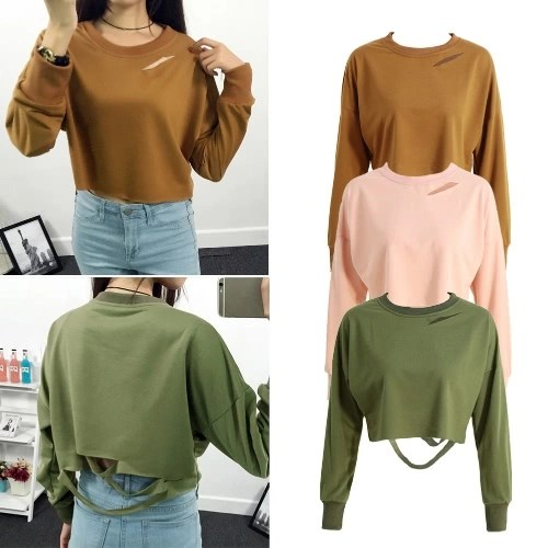 New Fashion Women T-Shirt Sweatshirt Holes Cutout Long Sleeve Solid Loose Casual Hoody Pullover Short Tops Khaki/Army Green/Pink