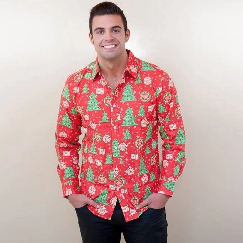 New Autumn Men Christmas Print Shirt Holiday Cartoon Long Sleeve Dress Shirt Casual Men Top