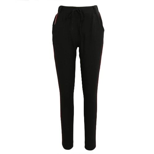 Fashion Women Side Striped Pants Trousers Casual High Elastic Waist Drawstring Slim Pencil Pants
