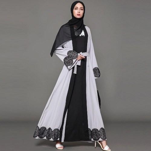 Women Muslim Cardigan Spliced Crochet Lace Hem Long Sleeve Islamic Abaya Maxi Dress Outwear