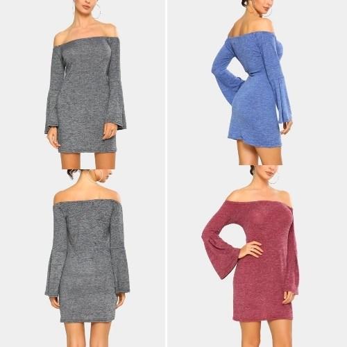 New Elegant Women Mini Bodycon Dress Slash Neck Long Flare Sleeve Solid Color Party Dress Burgundy/Blue/Grey