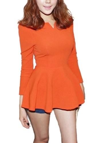 Women Tops V Neck Long Puff Sleeve Peplum Ruffle Hem Zipper Slim Fit Elegant South Korea T-shirt