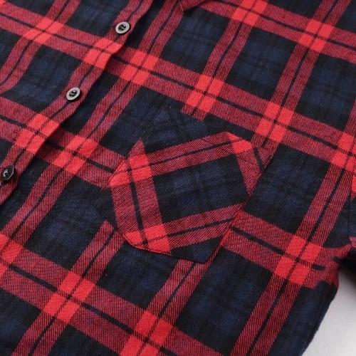 New Autumn Women Oversized Plaid Tartan Shirt Buttons Pocket Turn-down Collar Long Sleeve Baggy Check Blouse Tee Shirt