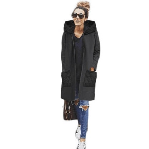 Women Casual Long Hoodie Sweatshirt Coat Pockets Zip Up Outerwear Hooded Jacket Black/Grey/Red