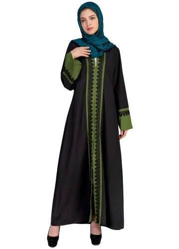 New Women Muslim Maxi Dress Contrast Color Lace Pitches Long Sleeve Abaya Kaftan Islamic Indonesia Robe Long Dress Pink/Dark Green