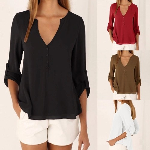 New Fashion Women Casual Chiffon Blouse V Neck Long Sleeve Button Asymmetric Solid Slim Shirt Tops