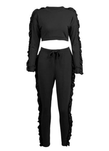 Women Two-Piece Set Ruffle Crop Top Long Pants O-Neck Long Sleeves Drawstring Casual Sportswear Top Trousers Black/Pink