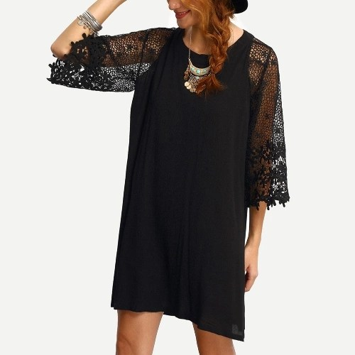 Women Loose Dress Sheer Lace Cut Out 3/4 Sleeve Casual Short Dress Solid Mini Dress Plus Size Vestidos Black