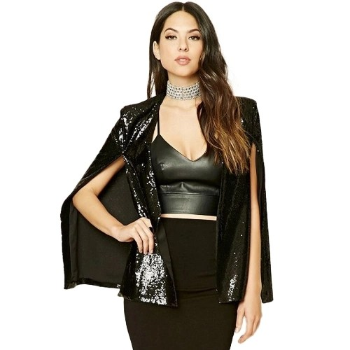 Women Sequins Blazer Cape Cloak Open Front Split Poncho Cardigan Jacket Coat Casual Tops Outwear