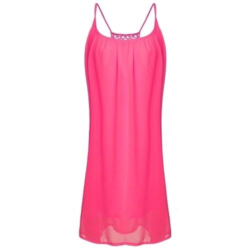 Casual Sexy Women Summer Backless Sleeveless Evening Party Dress Short Mini Casual Loose Beach