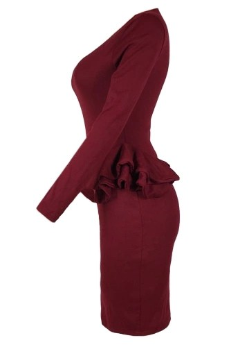 Women Pencil Party Dress Ruffles Long Sleeve Bodycon Slim Midi Club Vestidos Solid Dress Burgundy
