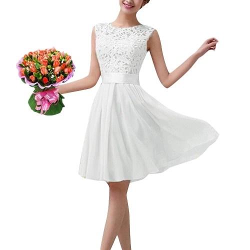 New Fashion Women Chiffon Lace Dress Sleeveless O Neck Solid Color Elegant Princess Party Dress