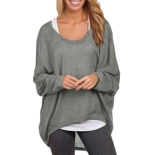 New Fashion Women Blouses O neck Batwing Long Sleeve Irregular Hem Casual Loose Solid Shirts Top 9 Colors