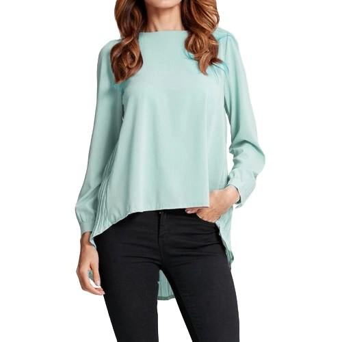 New Women Chiffon Blouse Pleated O-Neck Long Sleeve Asymmetric Loose Casual Solid Plus Size Shirt Top