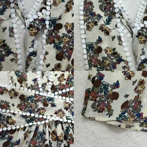 Summer Women Jumpsuit V Neck Floral Strap Playsuit Cross Bandage Rompers Sleeveless Short Overalls White/Yellow