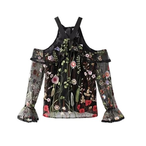 Sexy Women Sheer Top Floral Embroidery Off Shoulder Tie Halter Flare Sleeve Transparent Blouse Top Black