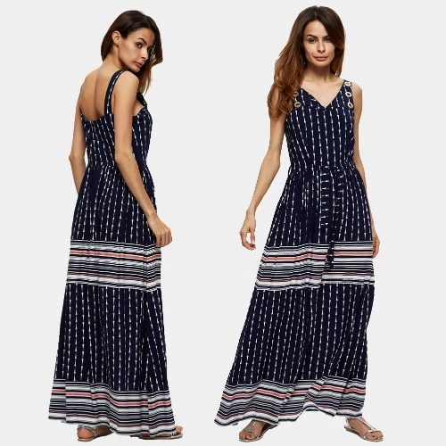 Vintage Women Beach Dress Stripe Geometric Print V Neck Sleeveless Elastic Waist Maxi Long Gown Boho Dark Blue