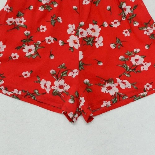 Sexy Women Chiffon Jumpsuit Boho Short Rompers Floral V-Neck Tie V-Back Sleeveless Casual Playsuit Red