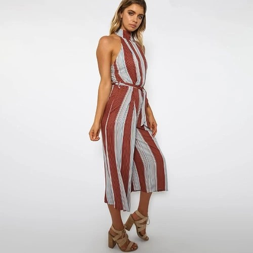 New Sexy Women Stripe Jumpsuit Halter Backless Zipper Belted Wide Leg Playsuit Rompers Red