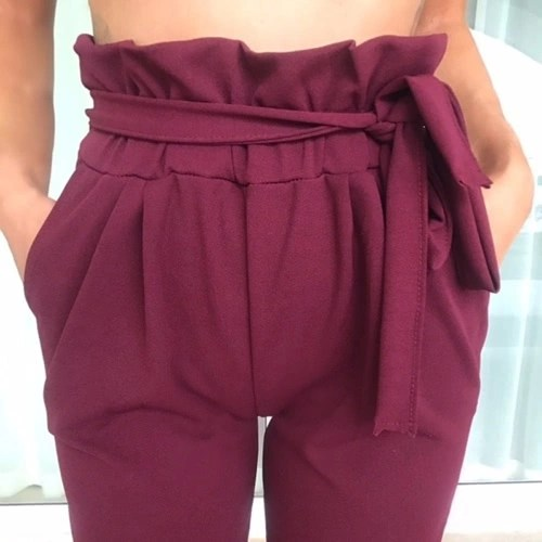 Women OL High Waist Harem Pants Summer Solid Color Pockets Causal Tights Trousers