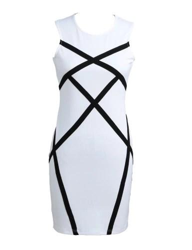 Women Pencil Dress Contrast Splicing Geometric Sleeveless Bodycon Bandage Mini Evening Party Workwear White