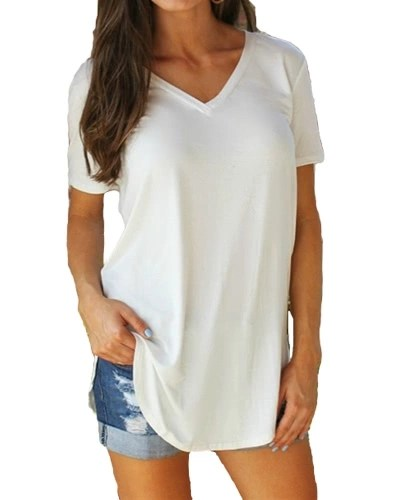 New Fashion Women T-shirt Solid Color V Neck Short Sleeve Rounded Hem Long Casual Party Wear Tops