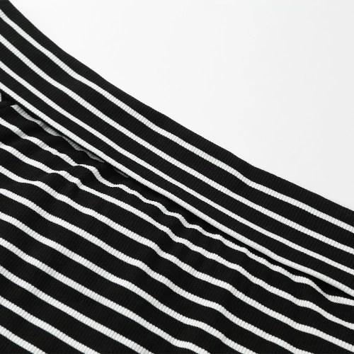 New Fashion Women Stripe Long Sleeve Top Off Shoulder Cross Wraparound Front Slim Striped T-Shirt Tops Black/White